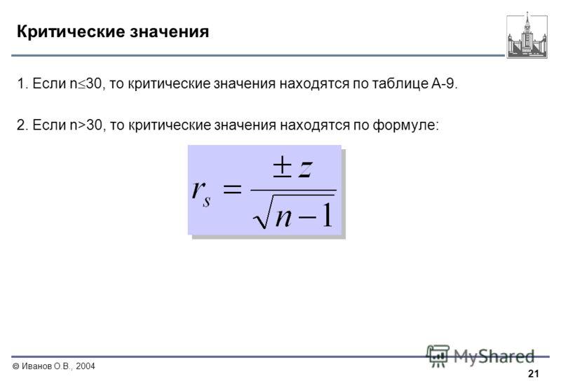 21 Иванов О.В., 2004 Критические значения 1. Если n 30, то критические значения находятся по таблице A-9. 2. Если n>30, то критические значения находятся по формуле: