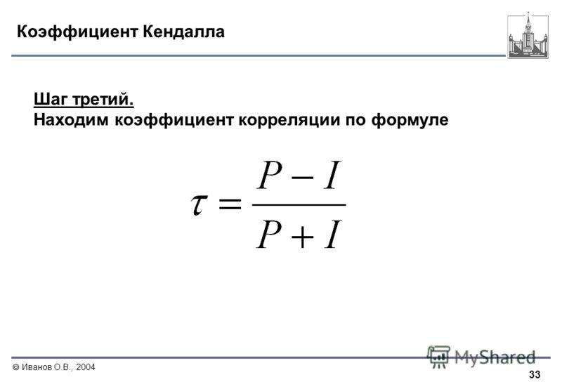 33 Иванов О.В., 2004 Коэффициент Кендалла Шаг третий. Находим коэффициент корреляции по формуле