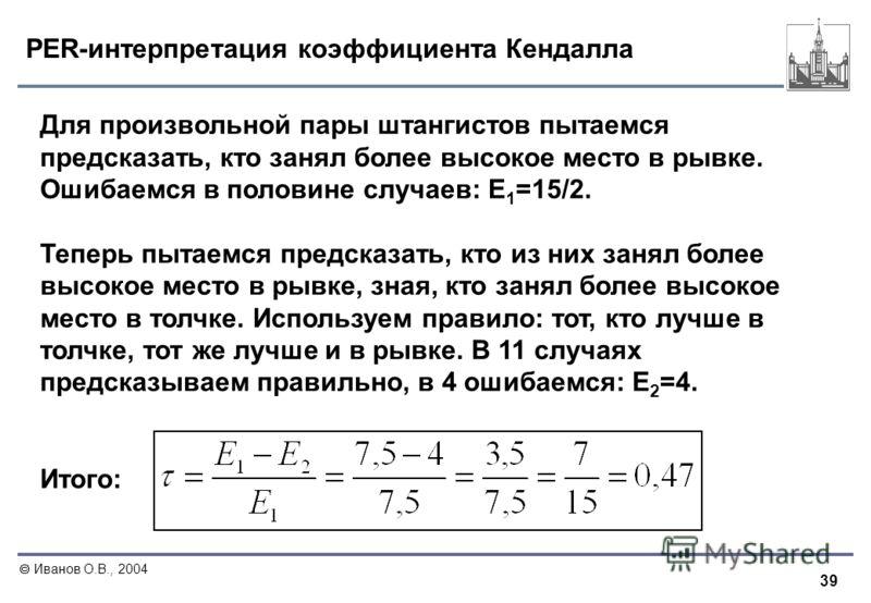 39 Иванов О.В., 2004 PER-интерпретация коэффициента Кендалла Для произвольной пары штангистов пытаемся предсказать, кто занял более высокое место в рывке. Ошибаемся в половине случаев: E 1 =15/2. Теперь пытаемся предсказать, кто из них занял более вы