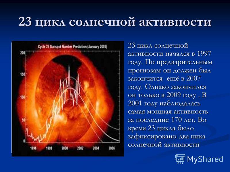 23 цикл солнечной активности 23 цикл солнечной активности начался в 1997 году. По предварительным прогнозам он должен был закончится ещё в 2007 году. Однако закончился он только в 2009 году. В 2001 году наблюдалась самая мощная активность за последни