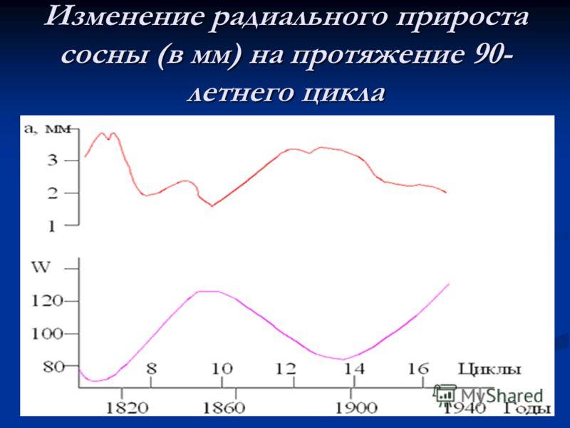 Изменение радиального прироста сосны (в мм) на протяжение 90- летнего цикла