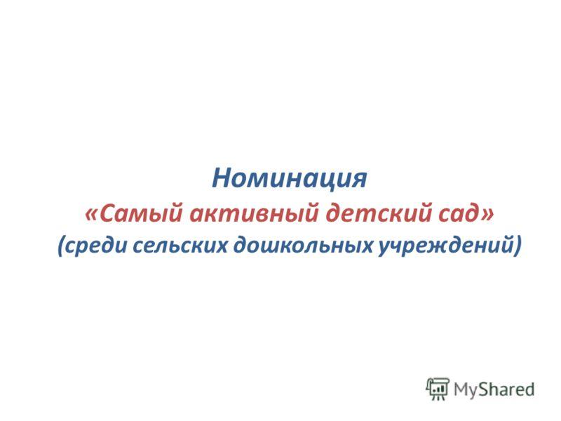 Номинация «Самый активный детский сад» (среди сельских дошкольных учреждений)
