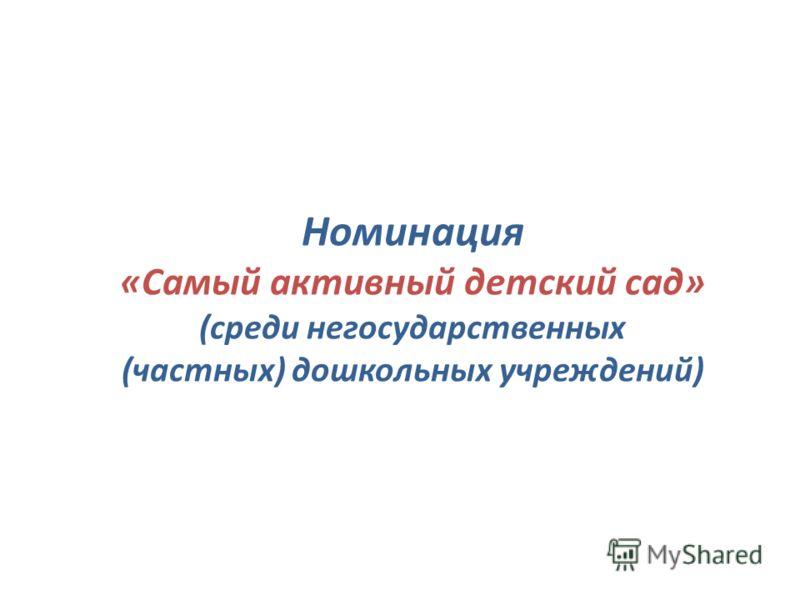 Номинация «Самый активный детский сад» (среди негосударственных (частных) дошкольных учреждений)