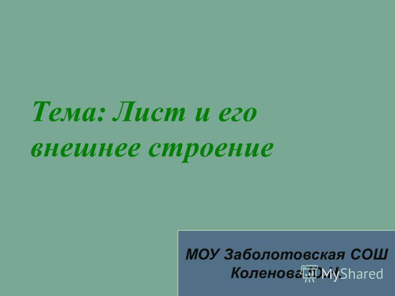 Тема: Лист и его внешнее строение МОУ Заболотовская СОШ Коленова Ю.Н.