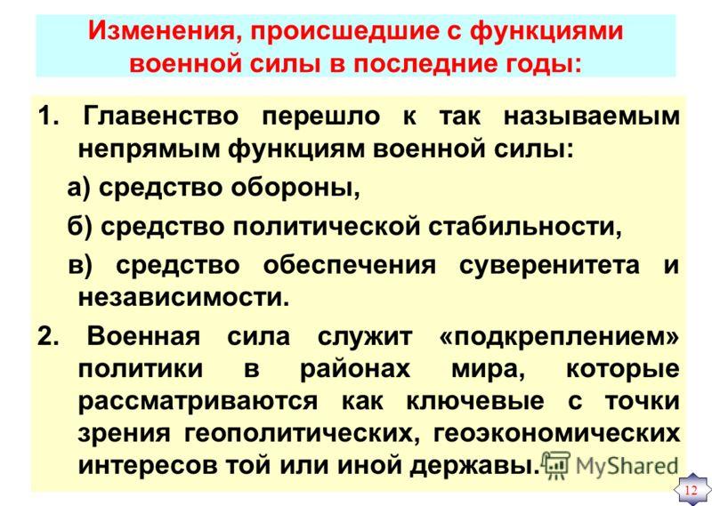 Изменения, происшедшие с функциями военной силы в последние годы: 1. Главенство перешло к так называемым непрямым функциям военной силы: а) средство обороны, б) средство политической стабильности, в) средство обеспечения суверенитета и независимости.