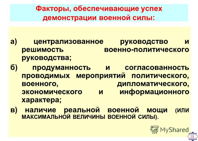 Факторы, обеспечивающие успех демонстрации военной силы: а) централизованное руководство и решимость военно-политического руководства; б) продуманность и согласованность проводимых мероприятий политического, военного, дипломатического, экономического