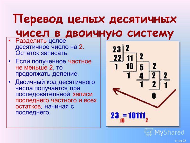 11 из 25 Перевод целых десятичных чисел в двоичную систему Разделить целое десятичное число на 2. Остаток записать. Если полученное частное не меньше 2, то продолжать деление. Двоичный код десятичного числа получается при последовательной записи посл