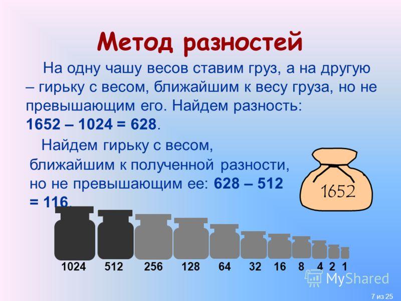 7 из 25 Метод разностей На одну чашу весов ставим груз, а на другую – гирьку с весом, ближайшим к весу груза, но не превышающим его. Найдем разность: 1652 – 1024 = 628. 1652 1024 512 256 128 64 32 16 8 4 2 1 Найдем гирьку с весом, ближайшим к получен