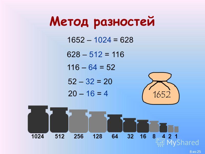 8 из 25 Метод разностей 1652 – 1024 = 628 628 – 512 = 116 1652 1024 512 256 128 64 32 16 8 4 2 1 116 – 64 = 52 52 – 32 = 20 20 – 16 = 4