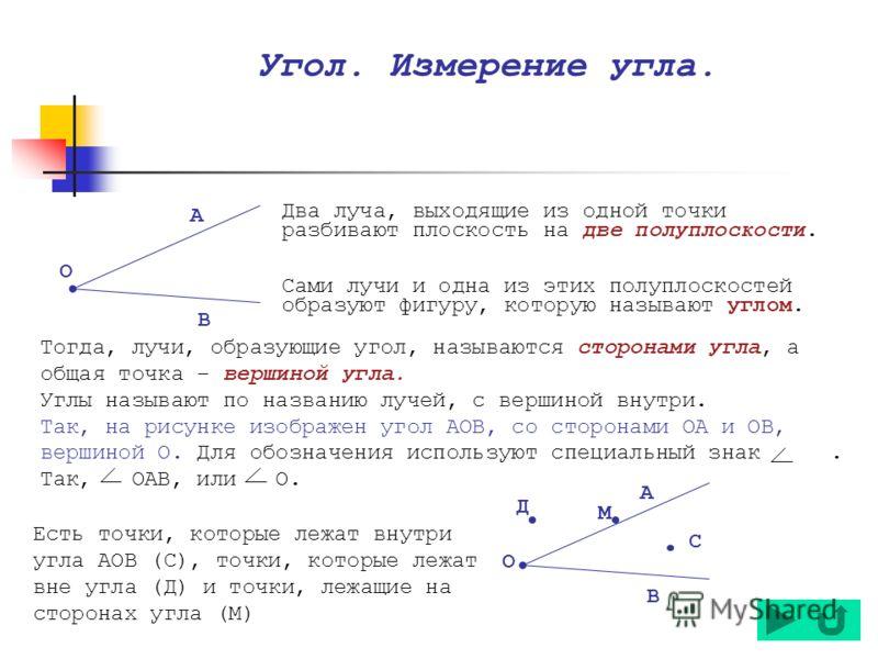 Есть точки, которые лежат внутри угла АОВ (С), точки, которые лежат вне угла (Д) и точки, лежащие на сторонах угла (М) Тогда, лучи, образующие угол, называются сторонами угла, а общая точка – вершиной угла. Углы называют по названию лучей, с вершиной
