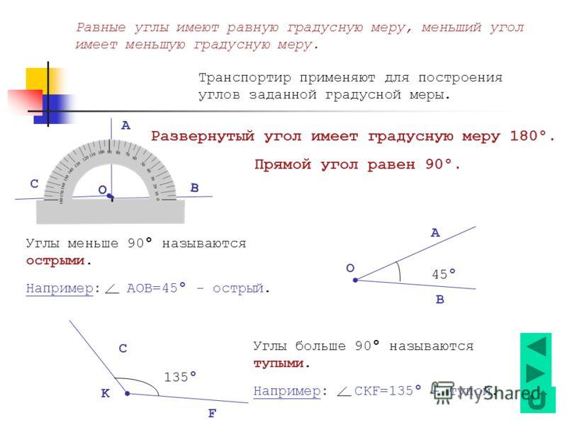 Равные углы имеют равную градусную меру, меньший угол имеет меньшую градусную меру. Транспортир применяют для построения углов заданной градусной меры. Развернутый угол имеет градусную меру 180°. Прямой угол равен 90°. О А В С Углы меньше 90 ° называ