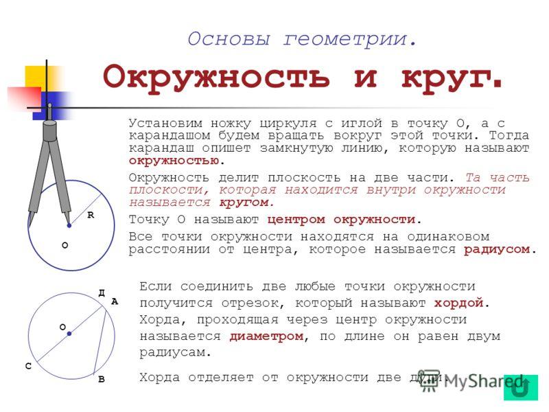 Если соединить две любые точки окружности получится отрезок, который называют хордой. Хорда, проходящая через центр окружности называется диаметром, по длине он равен двум радиусам. Хорда отделяет от окружности две дуги. Основы геометрии. Окружность