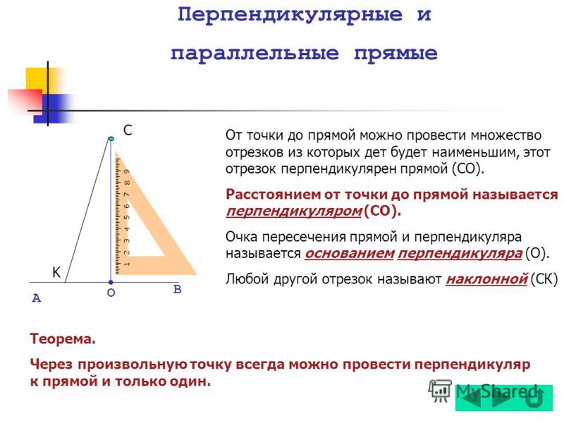 Перпендикулярные и параллельные прямые 123 4 5 67 8 9 А О В C K От точки до прямой можно провести множество отрезков из которых дет будет наименьшим, этот отрезок перпендикулярен прямой (СО). Расстоянием от точки до прямой называется перпендикуляром