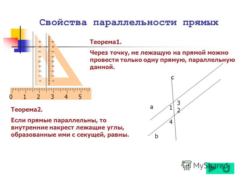 Свойства параллельности прямых Теорема1. Через точку, не лежащую на прямой можно провести только одну прямую, параллельную данной. Теорема2. Если прямые параллельны, то внутренние накрест лежащие углы, образованные ими с секущей, равны. 123 4 5 67 8