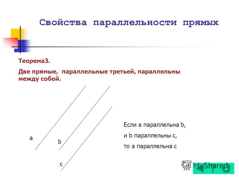Теорема3. Две прямые, параллельные третьей, параллельны между собой. a b c Если а параллельна b, и b параллельны с, то а параллельна с Свойства параллельности прямых