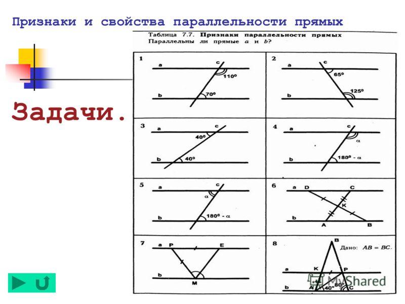 Признаки и свойства параллельности прямых Задачи.