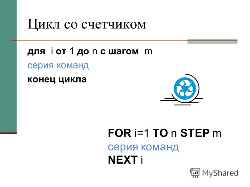 Цикл со счетчиком для i от 1 до n c шагом m серия команд конец цикла FOR i=1 TO n STEP m серия команд NEXT i
