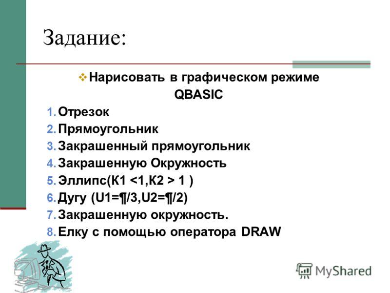 Задание: Нарисовать в графическом режиме QBASIC 1. Отрезок 2. Прямоугольник 3. Закрашенный прямоугольник 4. Закрашенную Окружность 5. Эллипс(К1 1 ) 6. Дугу (U1=¶/3,U2=¶/2) 7. Закрашенную окружность. 8. Елку с помощью оператора DRAW