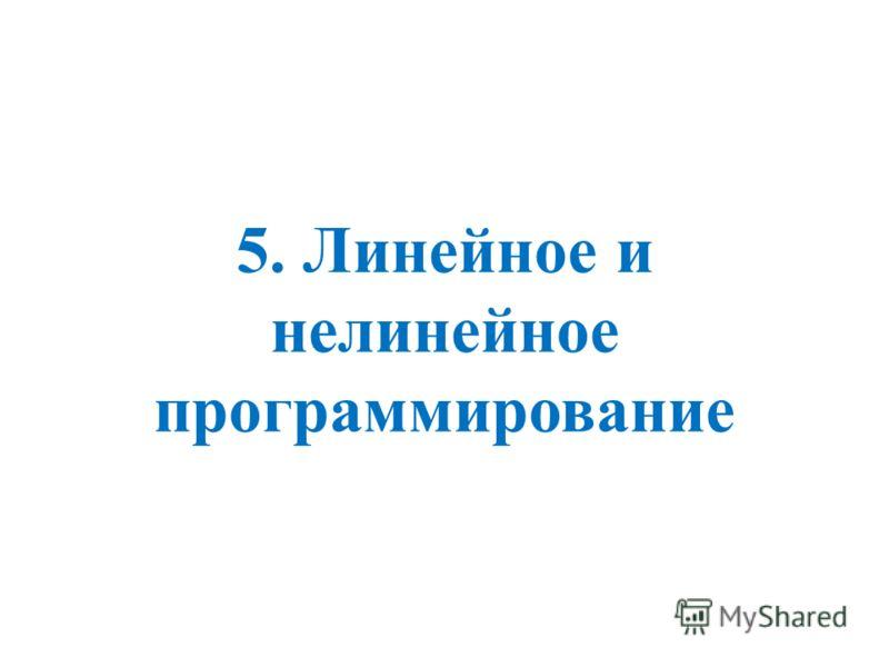 5. Линейное и нелинейное программирование