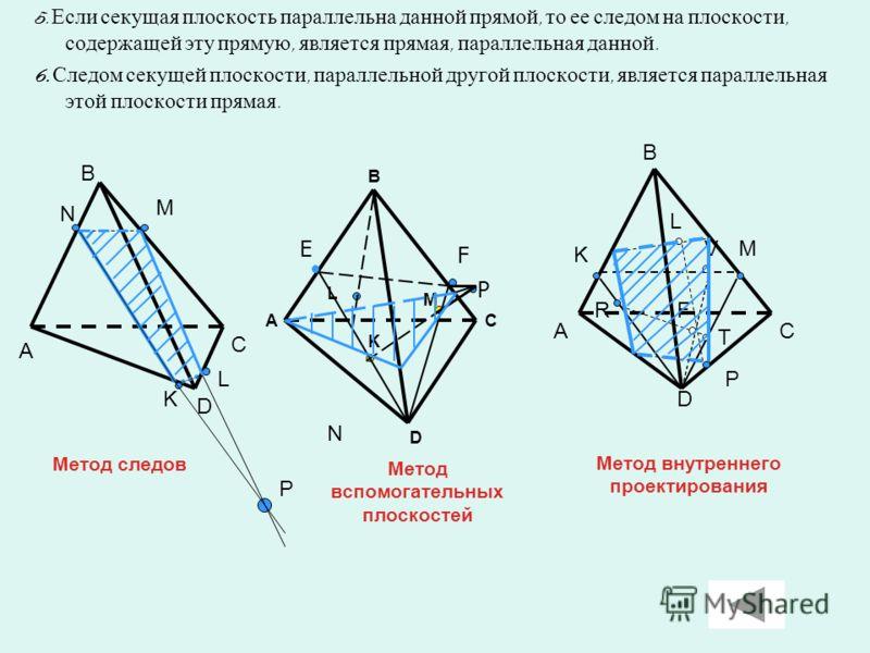 5. Если секущая плоскость параллельна данной прямой, то ее следом на плоскости, содержащей эту прямую, является прямая, параллельная данной. 6. Следом секущей плоскости, параллельной другой плоскости, является параллельная этой плоскости прямая. А B