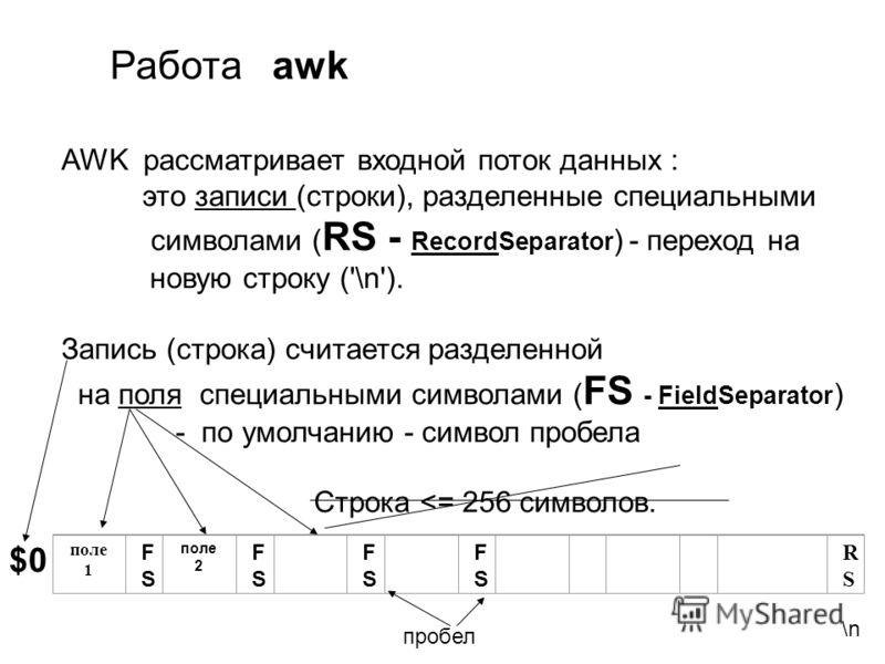 AWK рассматривает входной поток данных : это записи (строки), разделенные специальными символами ( RS - RecordSeparator ) - переход на новую строку ('\n'). Запись (строка) считается разделенной на поля специальными символами ( FS - FieldSeparator ) -