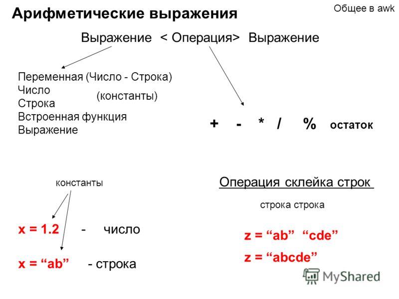 Арифметические выражения Выражение Переменная (Число - Строка) Число Строка Встроенная функция Выражение (константы) + - * / % остаток Общее в awk x = 1.2 - число x = ab - строка константы строка Операция склейка строк z = ab cde