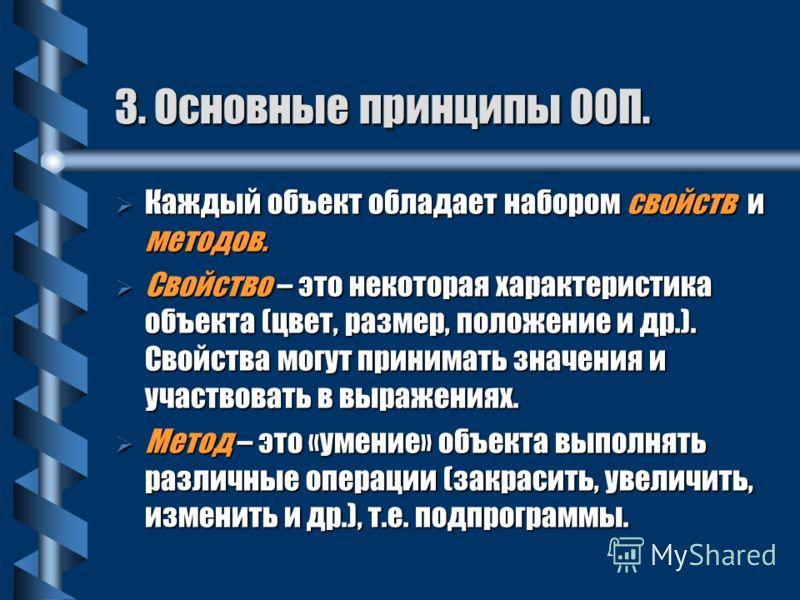 3. Основные принципы ООП. Основным понятием в ООП является объект. Формула объекта: Объект = Данные + Программы Объект содержит внутри себя данные и программы для обработки этих данных. Объекты – это «кирпичики» для создания программ.