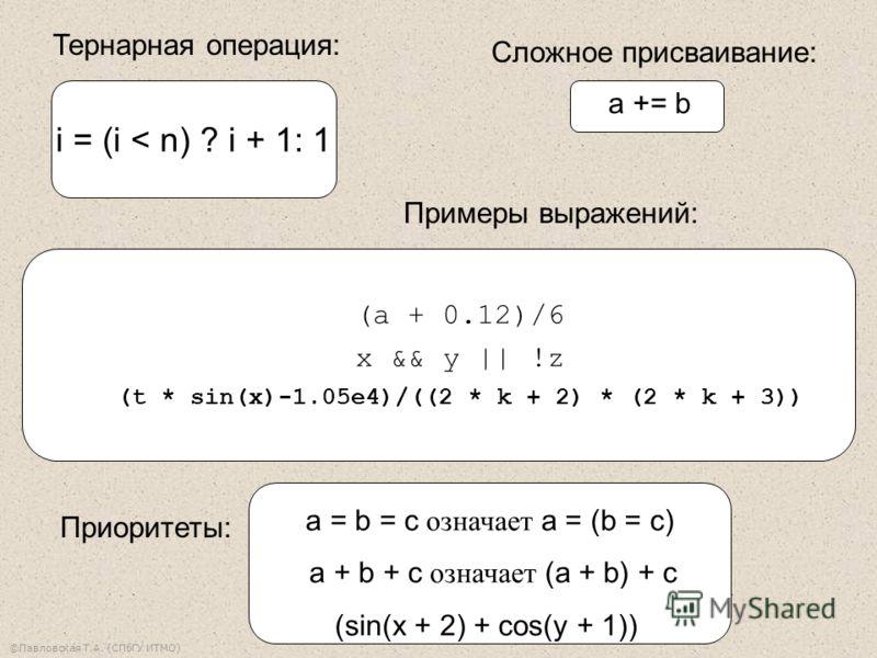 ©Павловская Т.А. (СПбГУ ИТМО) a = b = c означает a = (b = c) a + b + c означает (a + b) + c (sin(x + 2) + cos(y + 1)) i = (i < n) ? i + 1: 1 (a + 0.12)/6 x && y || !z (t * sin(x)-1.05e4)/((2 * k + 2) * (2 * k + 3)) Тернарная операция: Примеры выражен