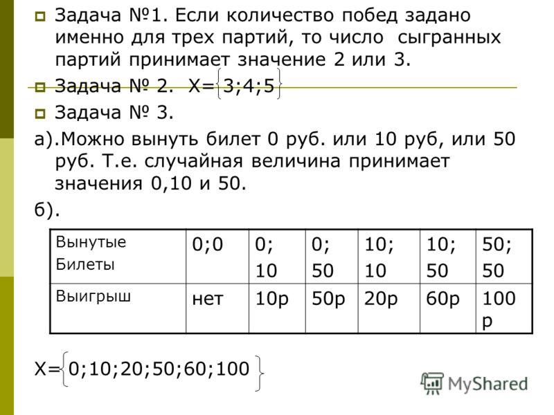 Задача 1. Если количество побед задано именно для трех партий, то число сыгранных партий принимает значение 2 или 3. Задача 2. Х= 3;4;5 Задача 3. а).Можно вынуть билет 0 руб. или 10 руб, или 50 руб. Т.е. случайная величина принимает значения 0,10 и 5