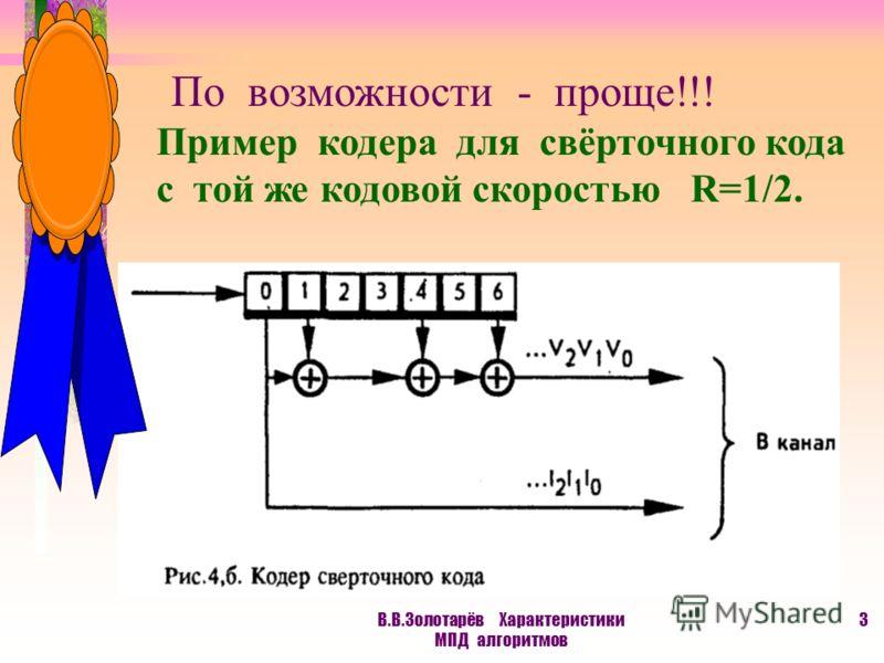 В.В.Золотарёв Характеристики МПД алгоритмов 2 Основное ограничение теории информации для кодирования Всегда должно выполняться условие R