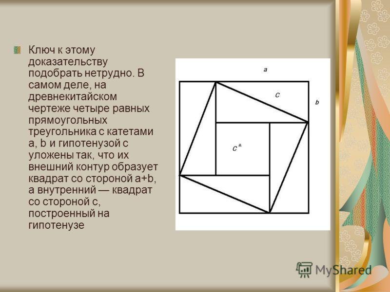 Ключ к этому доказательству подобрать нетрудно. В самом деле, на древнекитайском чертеже четыре равных прямоугольных треугольника с катетами а, b и гипотенузой с уложены так, что их внешний контур образует квадрат со стороной а+b, а внутренний квадра