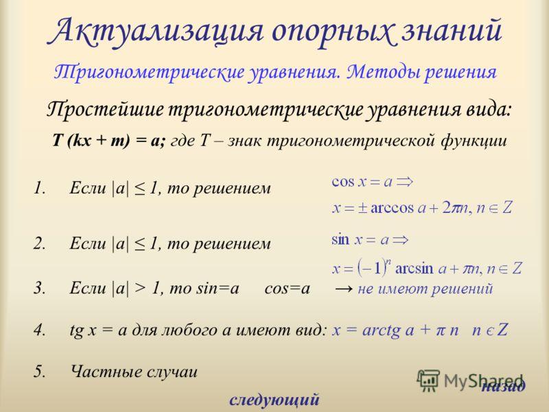 Актуализация опорных знаний Простейшие тригонометрические уравнения вида: T (kx + m) = a; где T – знак тригонометрической функции 1.Если |a| 1, то решением 2.Если |a| 1, то решением 3.Если |a| > 1, то sin=acos=a не имеют решений 4.tg x = a для любого