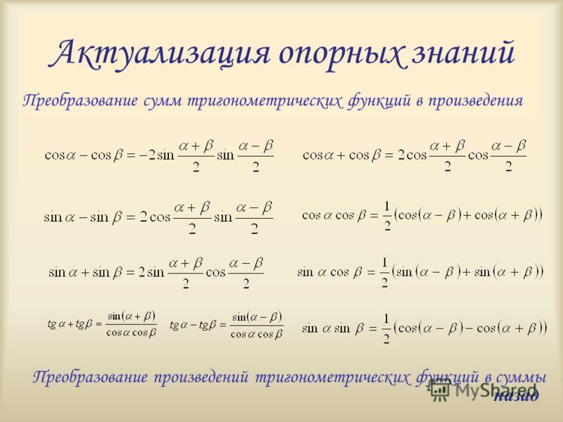 Актуализация опорных знаний Преобразование сумм тригонометрических функций в произведения Преобразование произведений тригонометрических функций в суммы назад