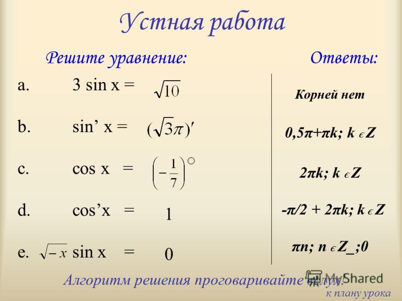 Устная работа a.3 sin x = b.sin x = c.cos x = d.cosx = e.sin x = Решите уравнение: 1 0 Ответы: Алгоритм решения проговаривайте вслух! Корней нет 0,5π+πk; k Є Z -π/2 + 2πk; k Є Z πn; n Є Z_;0 2πk; k Є Z к плану урока