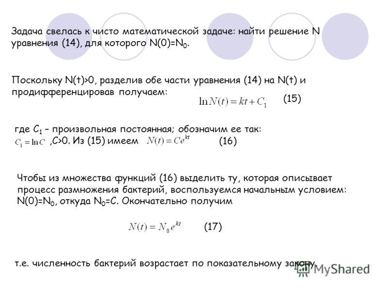 Задача свелась к чисто математической задаче: найти решение N уравнения (14), для которого N(0)=N 0. Поскольку N(t)>0, разделив обе части уравнения (14) на N(t) и продифференцировав получаем: (15) где С 1 – произвольная постоянная; обозначим ее так:,