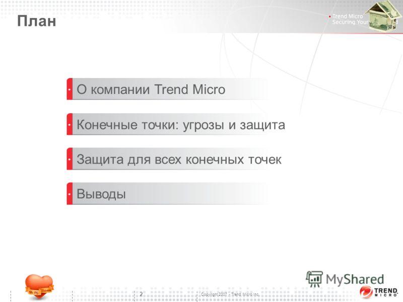 Copyright 2007 - Trend Micro Inc. 2 План О компании Trend Micro Конечные точки: угрозы и защита Защита для всех конечных точек Выводы