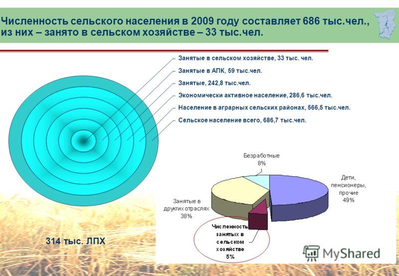 Численность сельского населения в 2009 году составляет 686 тыс.чел., из них – занято в сельском хозяйстве – 33 тыс.чел. Занятые в сельском хозяйстве, 33 тыс. чел. Занятые в АПК, 59 тыс.чел. Занятые, 242,8 тыс.чел. Экономически активное население, 286