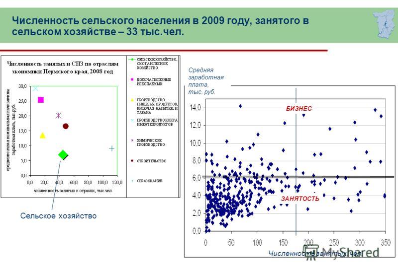 Численность сельского населения в 2009 году, занятого в сельском хозяйстве – 33 тыс.чел. Сельское хозяйство БИЗНЕС ЗАНЯТОСТЬ Численность занятых, чел. Средняя заработная плата, тыс. руб.