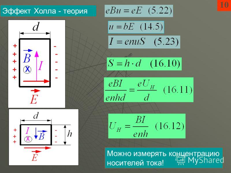 10 Эффект Холла - теория Можно измерять концентрацию носителей тока!