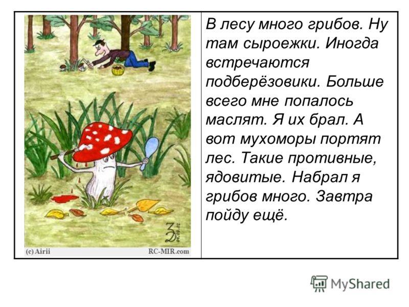 В лесу много грибов. Ну там сыроежки. Иногда встречаются подберёзовики. Больше всего мне попалось маслят. Я их брал. А вот мухоморы портят лес. Такие противные, ядовитые. Набрал я грибов много. Завтра пойду ещё.