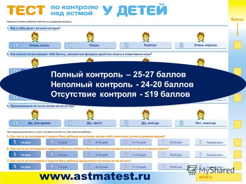 Полный контроль – 25-27 баллов Неполный контроль - 24-20 баллов Отсутствие контроля - 19 баллов Полный контроль – 25-27 баллов Неполный контроль - 24-20 баллов Отсутствие контроля - 19 баллов www.astmatest.ru