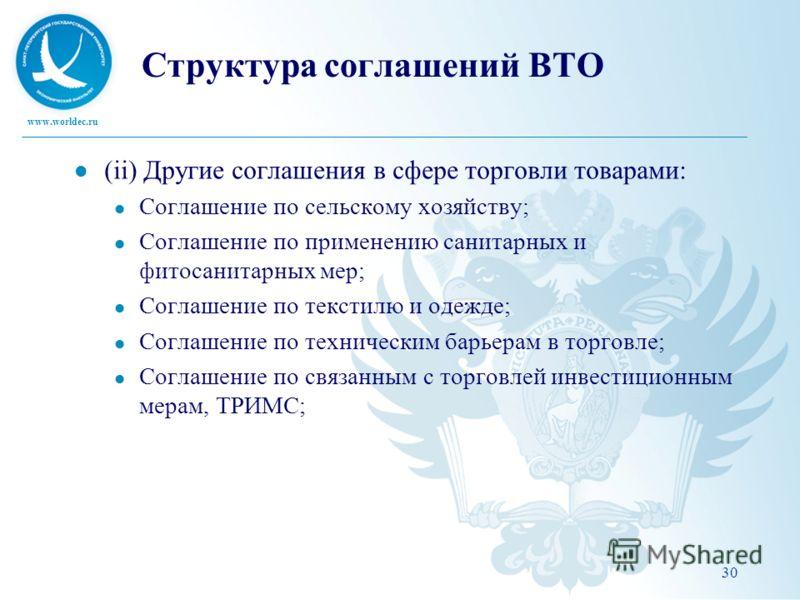 www.worldec.ru Структура соглашений ВТО (ii) Другие соглашения в сфере торговли товарами: Соглашение по сельскому хозяйству; Соглашение по применению санитарных и фитосанитарных мер; Соглашение по текстилю и одежде; Соглашение по техническим барьерам