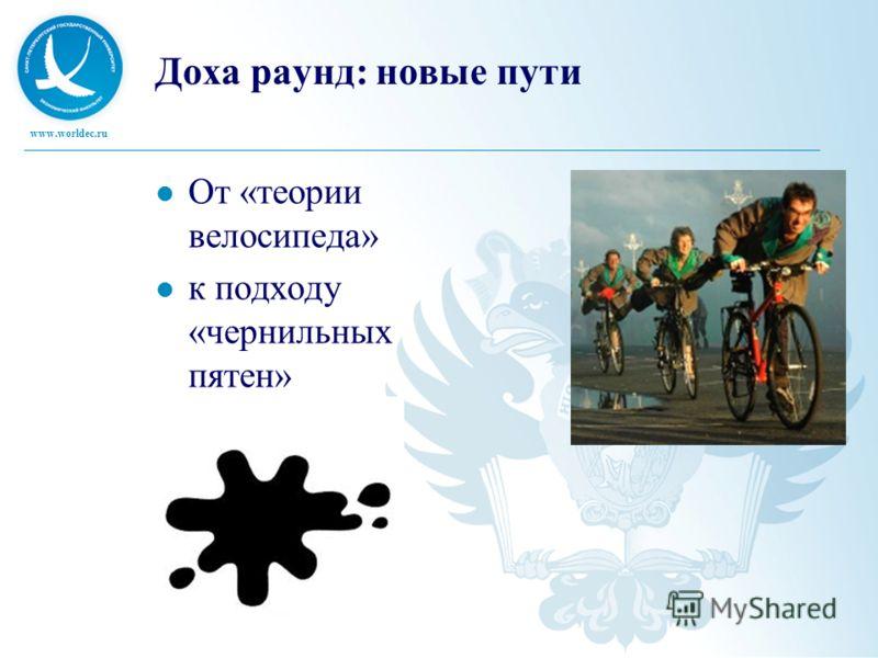 www.worldec.ru Доха раунд: новые пути От «теории велосипеда» к подходу «чернильных пятен»