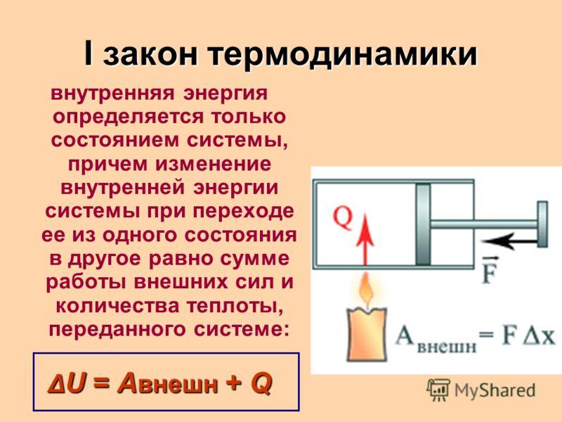 I закон термодинамики внутренняя энергия определяется только состоянием системы, причем изменение внутренней энергии системы при переходе ее из одного состояния в другое равно сумме работы внешних сил и количества теплоты, переданного системе: Δ U =