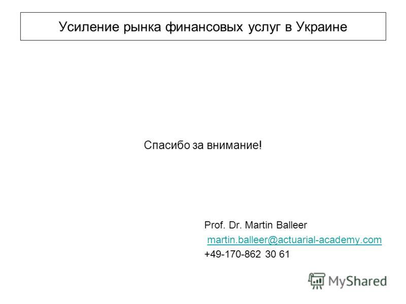 Усиление рынка финансовых услуг в Украине Спасибо за внимание! Prof. Dr. Martin Balleer martin.balleer@actuarial-academy.com +49-170-862 30 61