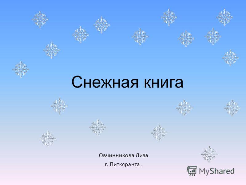 Снежная книга Овчинникова Лиза г. Питкяранта.