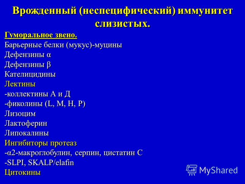 Врожденный (неспецифический) иммунитет слизистых. Гуморальное звено. Барьерные белки (мукус)-муцины Дефензины α Дефензины β Кателицидины Лектины -коллектины А и Д -фиколины (L, M, H, P) Лизоцим Лактоферин Липокалины Ингибиторы протеаз -α2-макроглобул
