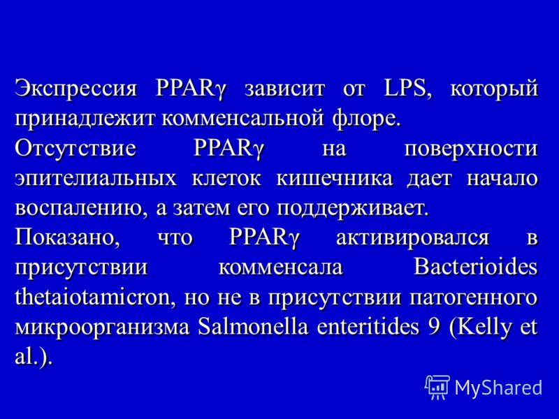 Экспрессия PPARγ зависит от LPS, который принадлежит комменсальной флоре. Отсутствие PPARγ на поверхности эпителиальных клеток кишечника дает начало воспалению, а затем его поддерживает. Показано, что PPARγ активировался в присутствии комменсала Bact