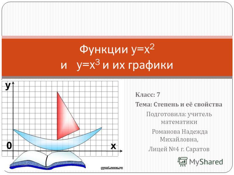 Класс : 7 Тема : Степень и её свойства Подготовила : учитель математики Романова Надежда Михайловна, Лицей 4 г. Саратов Функции y=x 2 и y=x 3 и их графики