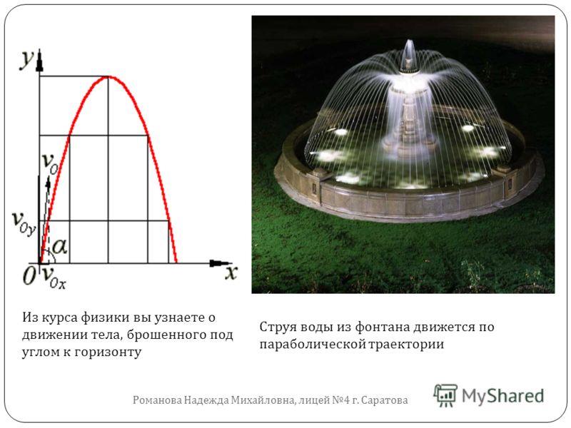 Струя воды из фонтана движется по параболической траектории Из курса физики вы узнаете о движении тела, брошенного под углом к горизонту